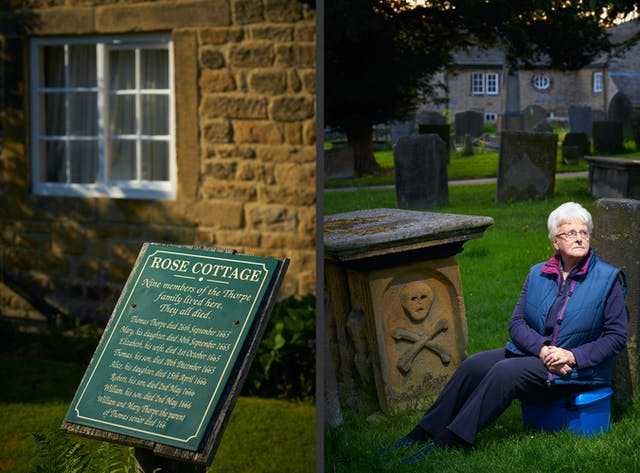 Photographic diptych showing on the left a green plaque outside a stone house title,