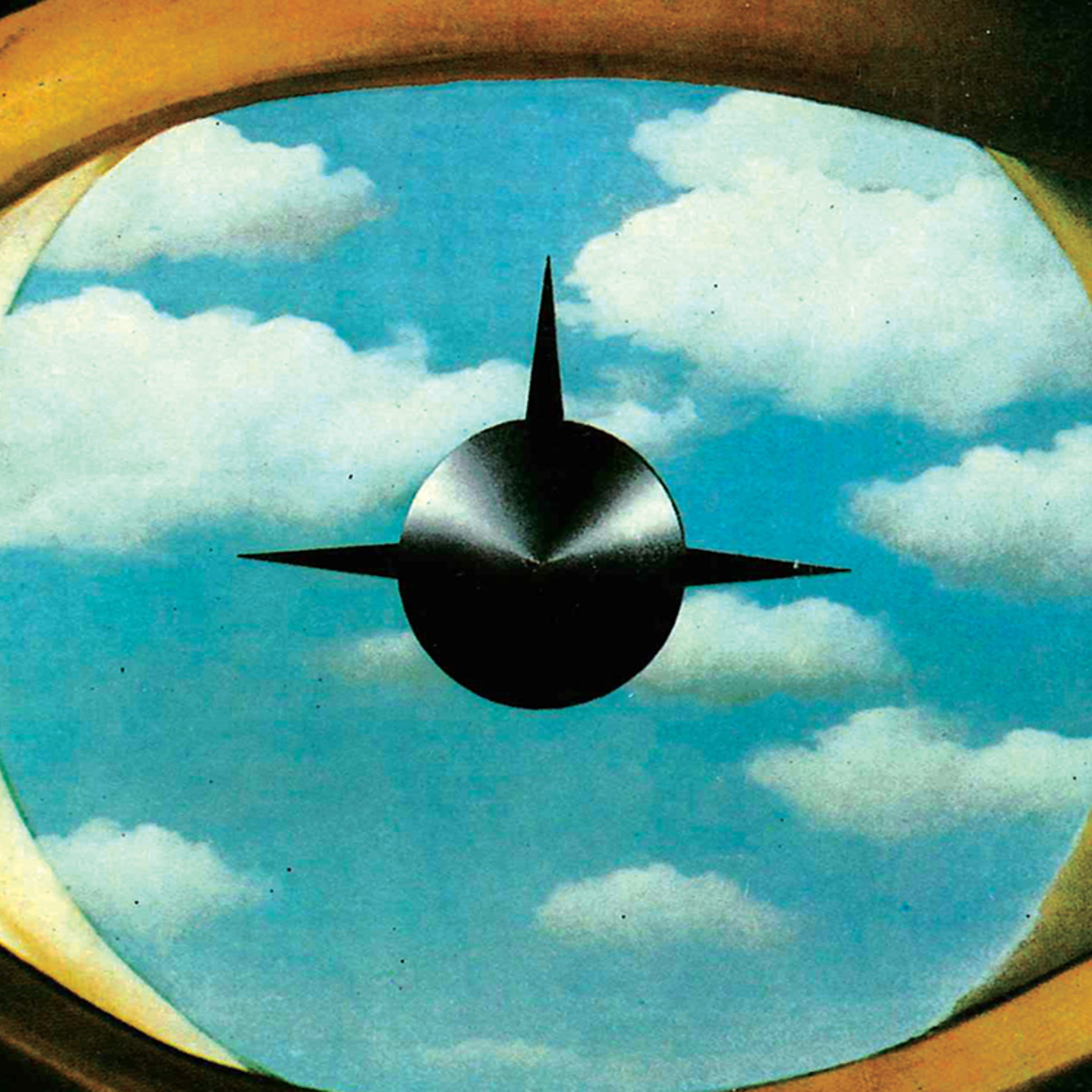 A human eye within which there is sky, and the image of a missile
