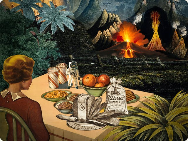 Artwork using collage. The collaged elements are made up of archive material which includes vintage and contemporary photographs, etchings, painted illustrations, lithographic prints and line drawings. This artwork depicts a scene with elements of outer space. In the background are volcanic like mountain peaks, some of which are erupting. In the foreground to the left a woman is sat at a kitchen table with her back to the viewer. On the table is a loaf of sliced bread, bowls of cereal, two glasses of milk, a bowl of fruit and very small astronaut.