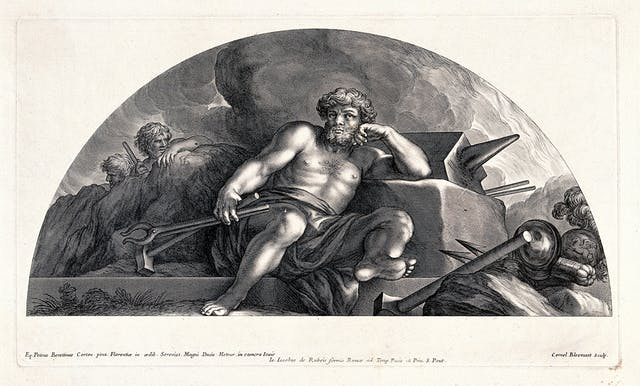 Roman god Vulcan reclining against his anvil iwth tools in his hands