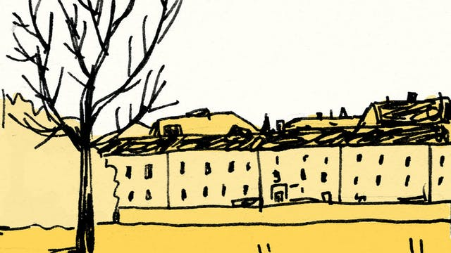 Drawing of a single tree without leaves in the foreground with a row of houses in the background.