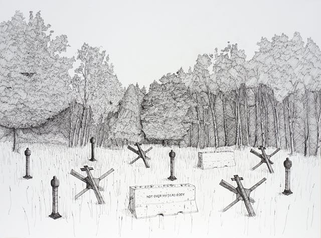 Pen and ink illustration on white textured paper. The illustration depicts a wooded scene in the background and a clearing in the foreground. in the foreground are several dark 3D forms which look like a cross between sea defences and tombstones. In the centre is a what looks like a concrete road barrier with the words,