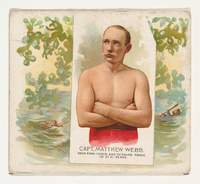 Colour print of Captain Matthew Web - shown with arms crossed across his bare chest in the foreground, and behind swimming.