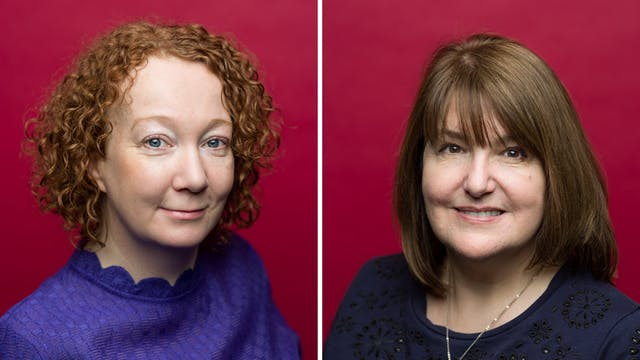 Photographic head and shoulders portrait of Sally Grey and Susan Avery against a crimson background.