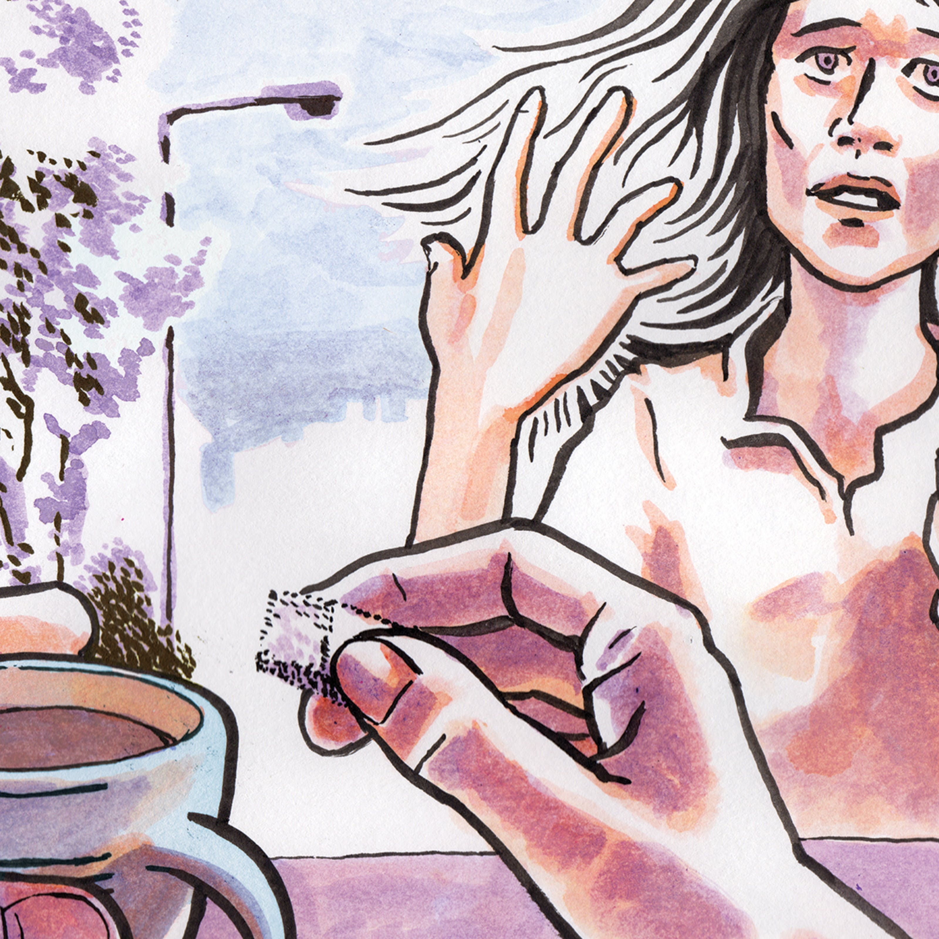 Ink cartoon drawing of a pair of hands with coffee foregrounding a woman looking pained holding a cup of coffee. Trees and a lamp-post in the background.