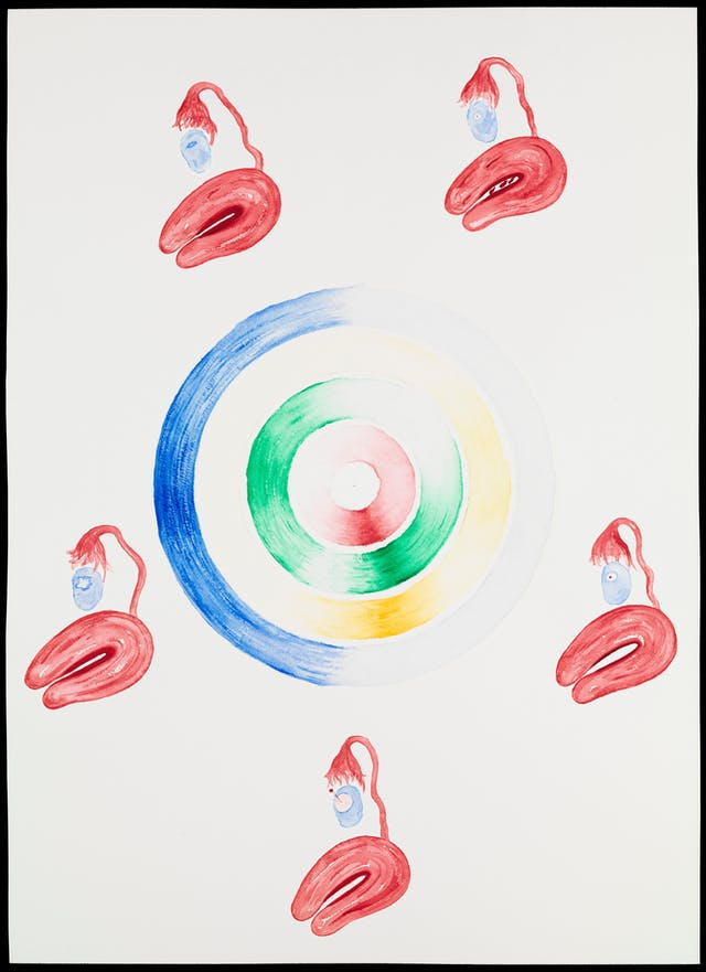 Painting showing the stages and relationship between events during a female menstrual cycle. The central disk reads clockwise from the top, starting at day 1 of the cycle. The levels of each of the four main hormones are represented by the four coloured discs. Red = follicle stimulating hormone, green = oestrogen, yellow = lutinizing hormone and blue = progesterone. The intensity of each colour denotes the concentration of the hormone in the blood. The five surrounding illustrations show the corresponding changes in the ovary and the lining of the uterus (endometrium) as it prepares for potential pregnancy.