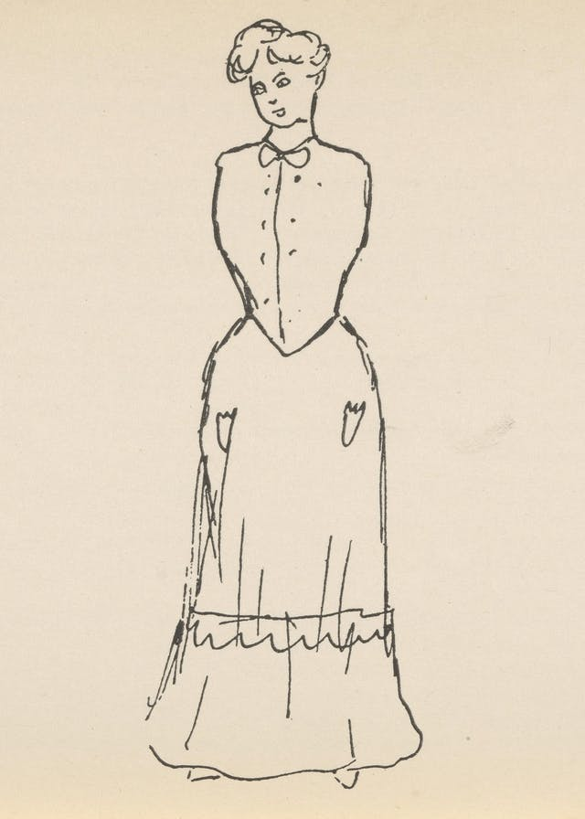Black and white line drawing showing a woman with some limbs missing.