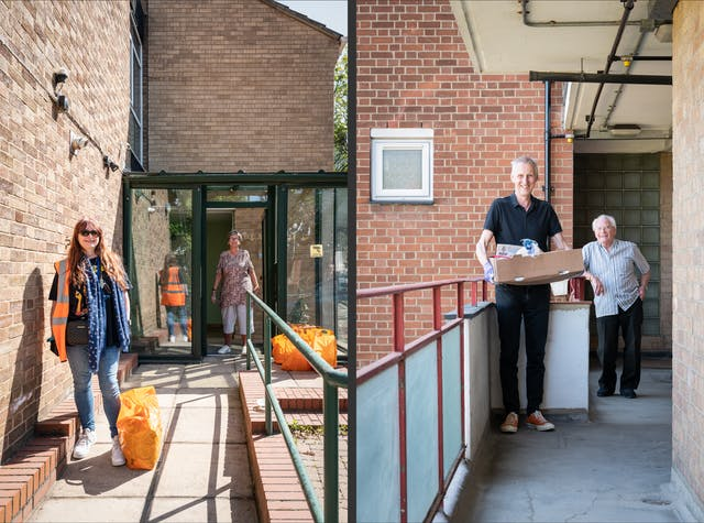 Photographic diptych. The image on the right shows a woman in a high-vis vest standing on the entrance path to sheltered accommodation building. At her feet is a bag of food shopping. In the background by the entrance door is a woman, stood by several bags of food shopping.  In the image on the right a man holding a cardboard box containing food stands on the walkway of a block of flats. In the background an older man leans against the handrail, smiling to camera.