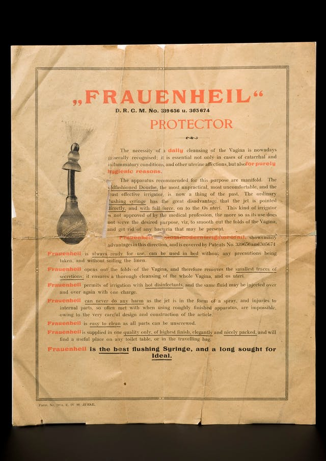 "Photograph of a leaflet about the Frauenheil douche, Europe, 1895-1905, written in the early 1900s. ""Frauenheil is the best flushing Syringe, and a long sought for Ideal""."