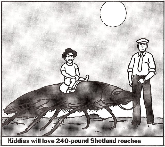 A cartoon of a young boy riding a giant cockroach