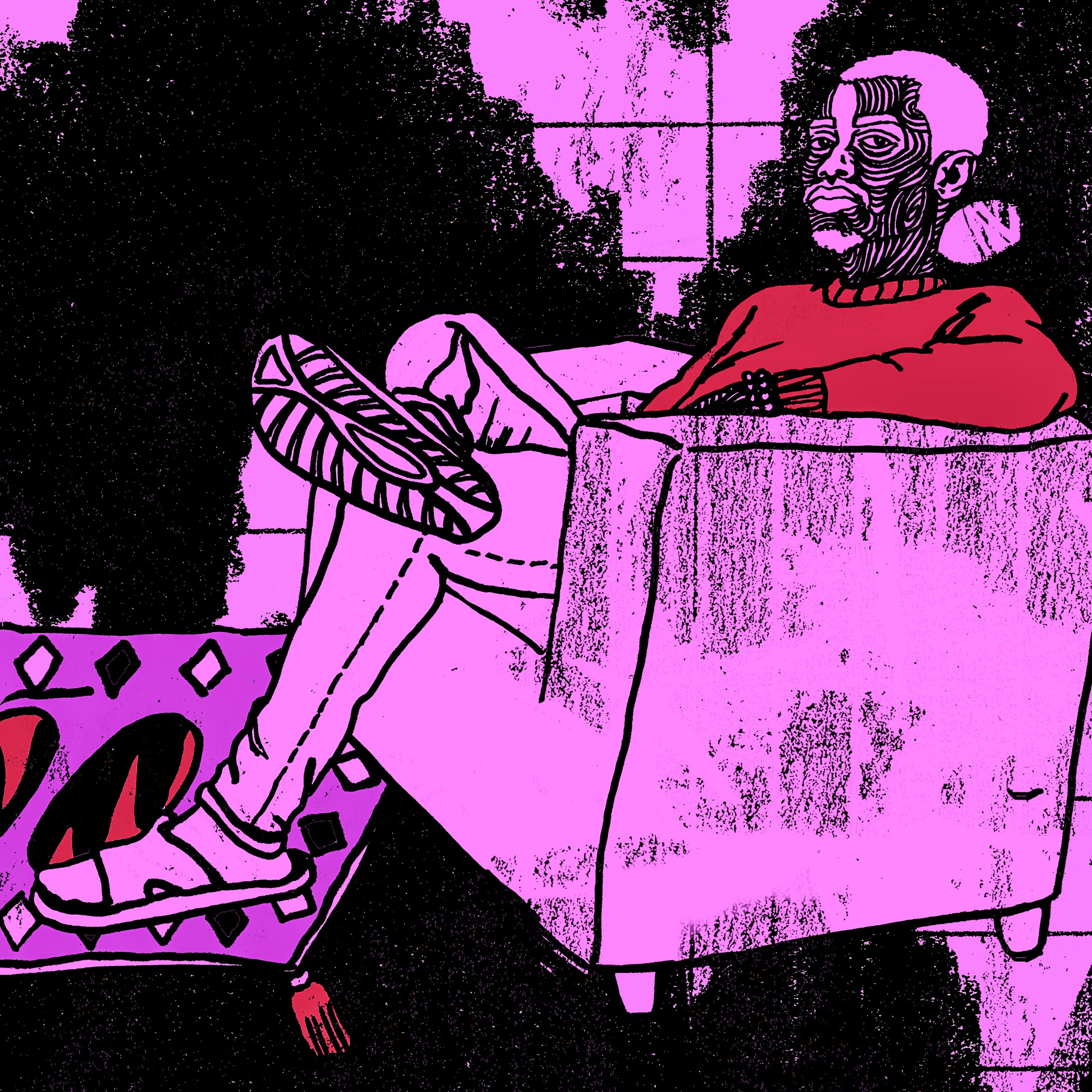 Illustration in black, purple and red tones, showing a person sitting in an armchair in a room. At their feet is a ruckled rug with things hidden under it. To the left is a small bookcase and house plant.