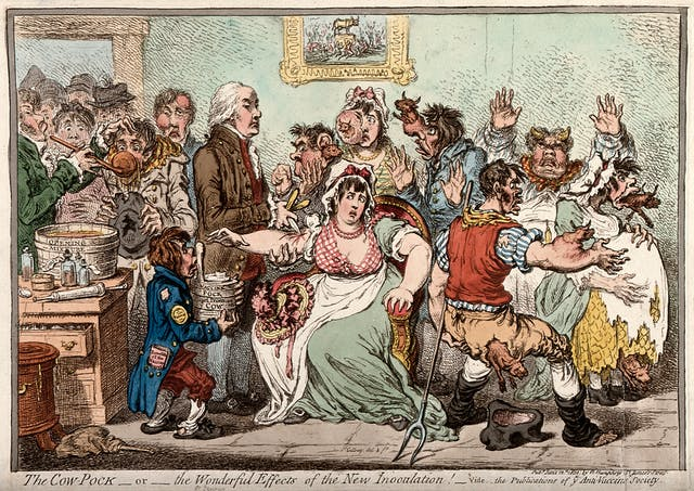Edward Jenner inoculating patients in the Smallpox and Inoculation Hospital at St. Pancras. The patients are shown comedically sprouting cow heads from various parts of their anatomy following the vaccination.