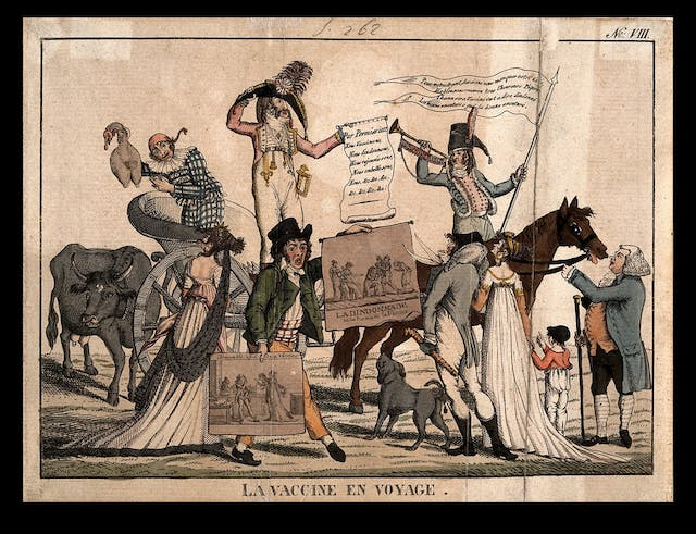 The image shows a procession of people protesting the introduction of vaccines in 19th century France.  One man rides a horse and plays a trumpet. One woman rides a chariot. They carry banners and flags about the vaccines.
