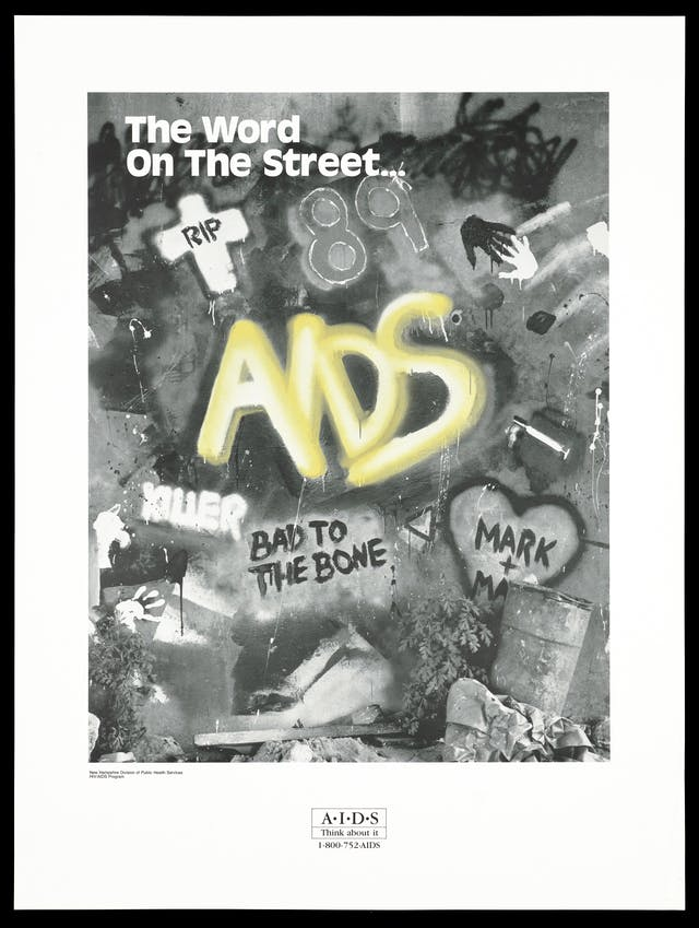 Graffiti about AIDS representing an advertisment for the HIV/AIDS program by the New Hampshire Division of Public Health Services. Lithograph, printed in black and white with yellow lettering, 1989.