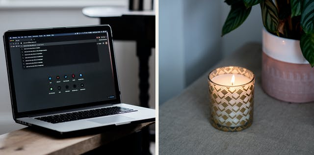 Photographic diptych. The image on the left shows a laptop open on a tabletop. On the screen is a web browser window with several searches for medical conditions listed. The image on the right show a lit scented candle next to a pot plant.