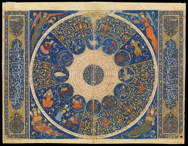 Image of colour manuscript in gold and blue, representing a horoscope. Large circle is in the middle with smaller circles in the centre. Inside these are symbols representing the signs of the zodiac.