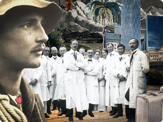 Artwork using collage. The collaged elements are made up archive material which includes vintage photographs, etchings, painted illustrations, lithographic prints and line drawings. This artwork depicts the head of a man on the far left who looks a little like an explorer with a rope over his shoulder and a hat on his head. A tear falls from his eye. Next to him stands a group of doctors all wearing white knee length lab coats. Next to them is a suitcase. The man wears a small red heart around his neck. In the distance plan trees, mountains and tall glass and metal skyscrapers can be seen.