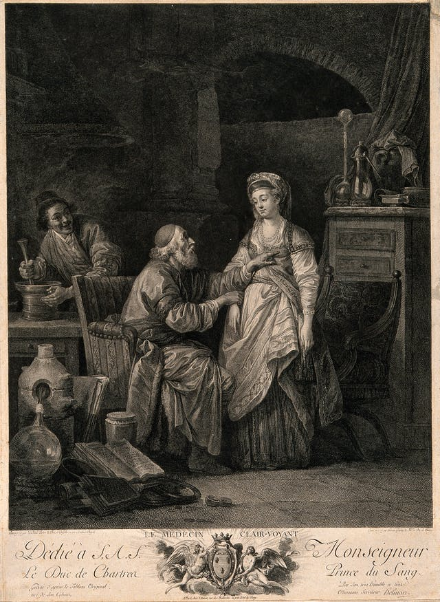 Black and white engraving showing an old physician taking a young woman