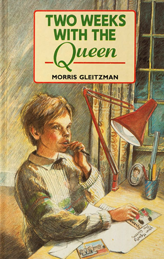 "Book cover showing a boy sitting at a desk chewing a pen whilst writing a letter that begins ""Your Majesty The Queen"""