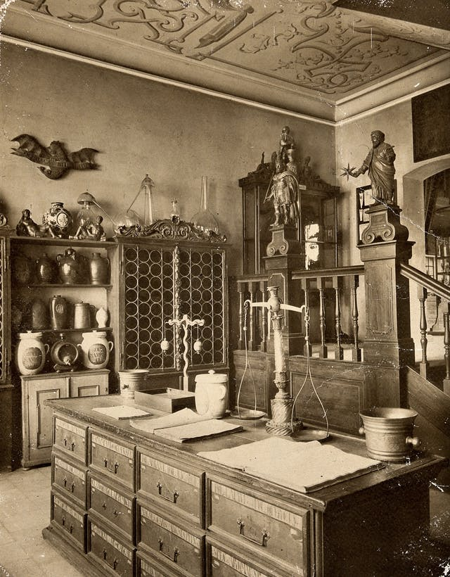The interior of a seventeenth-century apothecary