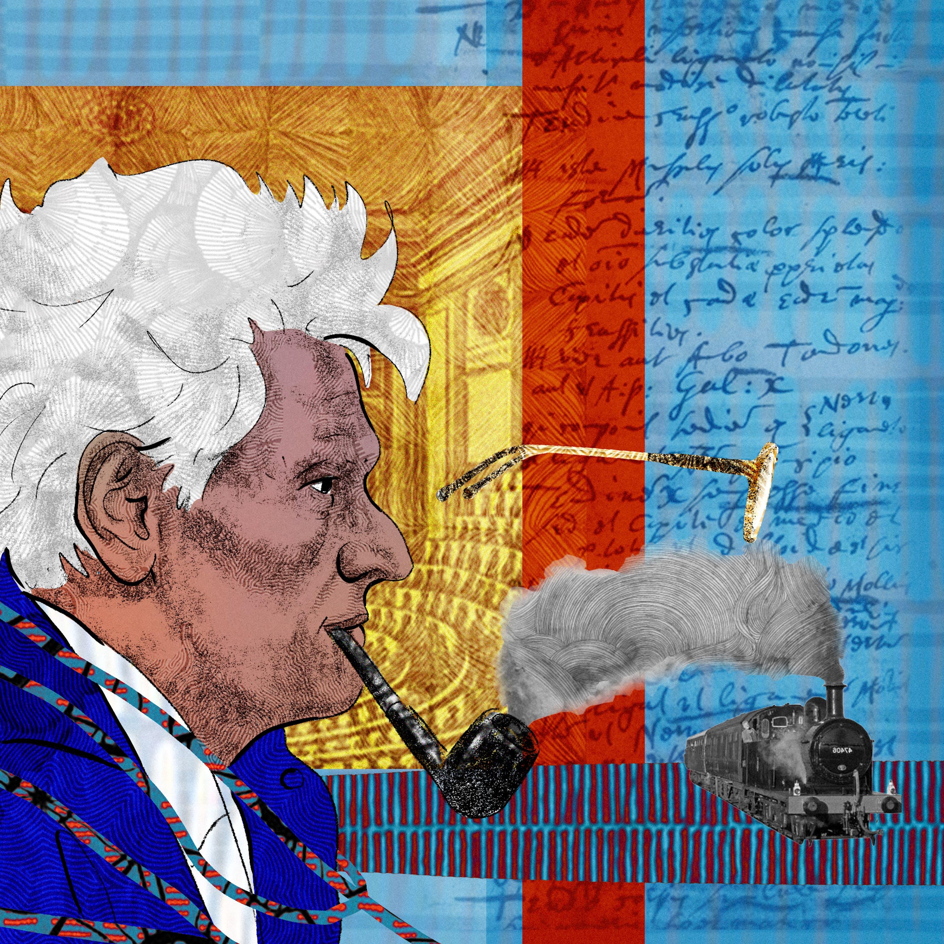 这是一幅抽象的数字插图,描绘的是一个面朝右边、叼着烟斗的男人的头和肩膀肖像,描绘的是作家雅克·德里达(Jacques Derrida)。在左边,我们看到一位女性正在用羽毛笔书写,描绘的是日记作者爱丽丝·詹姆斯。背景是手写笔记和档案材料的拼贴画,描绘了一个讲堂和x光。右边是一副漂浮的眼镜和一列蒸汽火车。