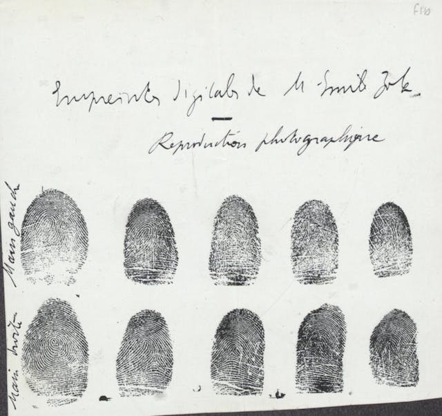 Black and white image showing Emile Zola's fingerprints.