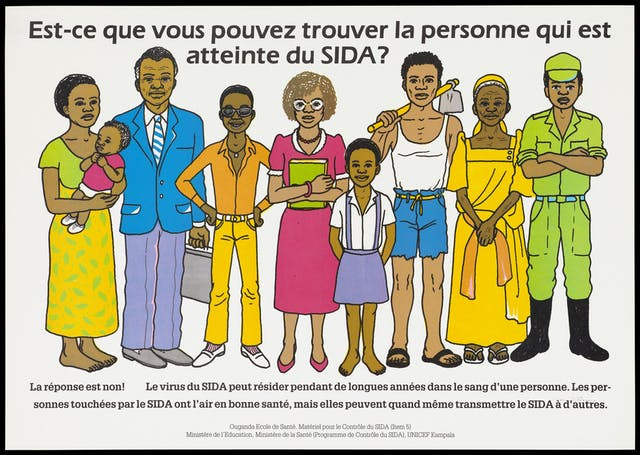 "A group of men, women and children representing the difficulty in spotting who carries the HIV virus, with text: ""Est-ce que vois pouvez trouver la personne qui est atteinte du SIDA?"". Colour lithograph created by UNICEF Uganda, the Uganda Ministry of Education & Uganda Ministry of Health, 1995."