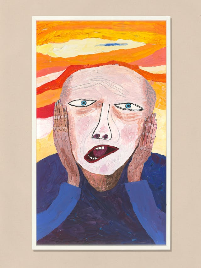Acrylic on canvas artwork by Chris Miller titled 'My Scream'. In the artwork, a man is holding is head with both his hands and appears to be screaming.  The man and surrounding landscape are visibly distorted.