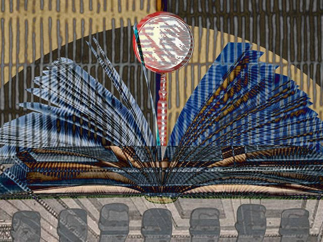 An abstract digital illustration depicting an archive image of a place of learning, decorated with a magnifying glass as an ornament and an open book forming an arch.