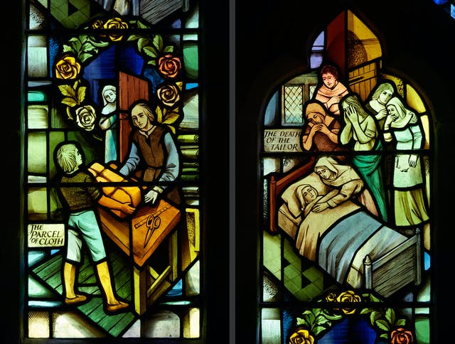 Photographic diptych showing modern stained glass windows in St Lawrence