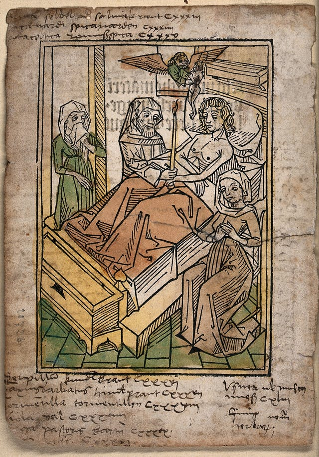 A woodcut image, showing a man lying in bed surrounded by a priest and two women.