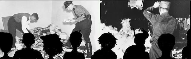 The Transvengers watch the Gestapo burn books