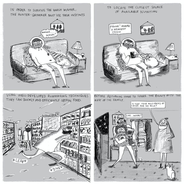 Webcomic comprising four panels showing someone engaging in food shopping in the format of a modern hunter-gatherer.