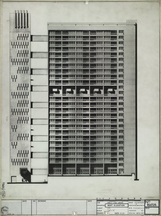 Black-and-white designs for Balfront Tower. At the bottom of the print it reads: Rowlett Street Housing, West Elevation. Date: 6.3.65 Erno Goldfinger and Associates Archtitects, 69-70 Piccadilly London W1 Hyde Park. No RSH 528.5