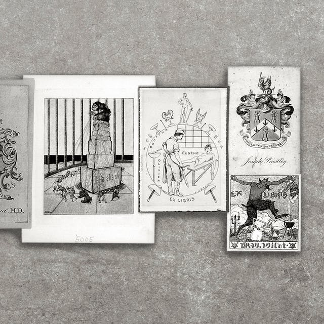 A selection of English, French, and German bookplates.  The pictures on the bookplates include coats of arms, surgery being performed, and a devil trampling on chemistry equipment. the group of bookplates have been photographed against a grey concrete textured background.