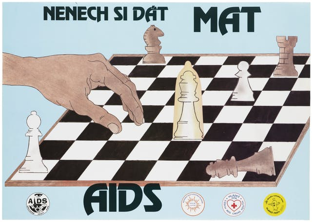 A colour lithograph showing a hand hanging over a chessboard has made its last move: white wins because the white king is protected by a condom; representing protection against AIDS.
