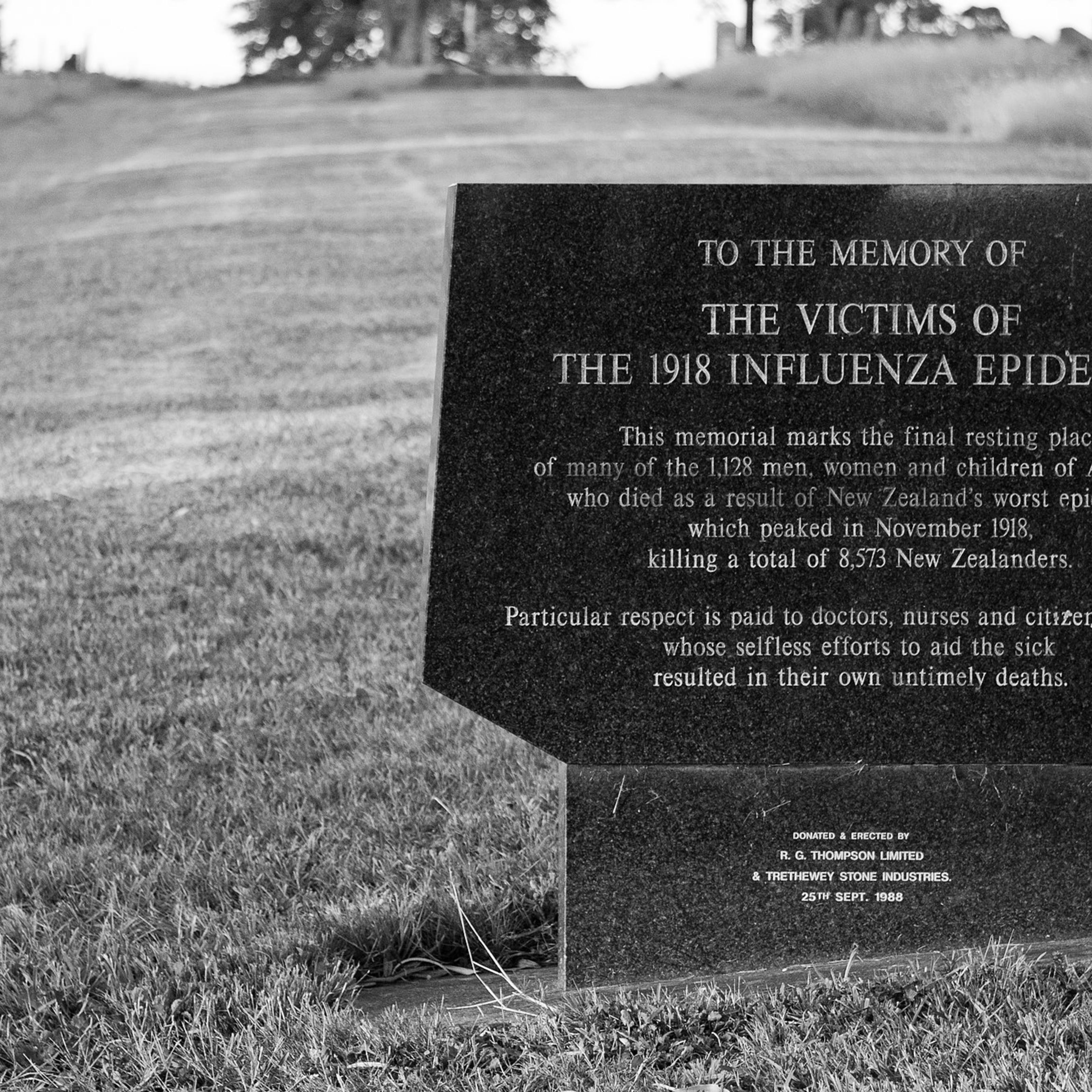 Plaque reads: This memorial marks the final resting place of many of the 1,128 men, women and children of Auckland who died as a result of New Zealand's worst epidemic which peaked in November 1918, killing a total of 8,573 New Zealanders. At the bottom it says it was donated and erected in 1988.