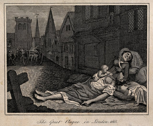 Two dead women lying in a London street during the 1665 plague