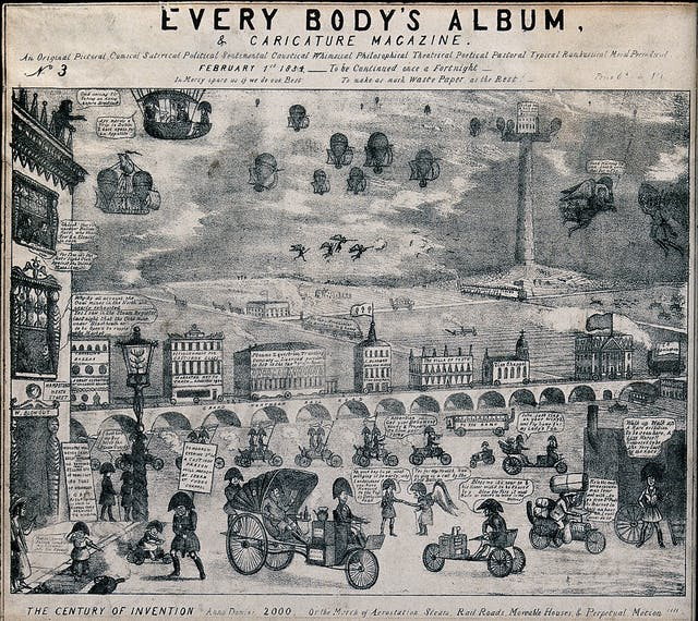 Lithograph showing transportation of the future as imagined in 1834, featuring hot air balloons in the sky and motor vehicles manned by servants in large hats below on the roads.