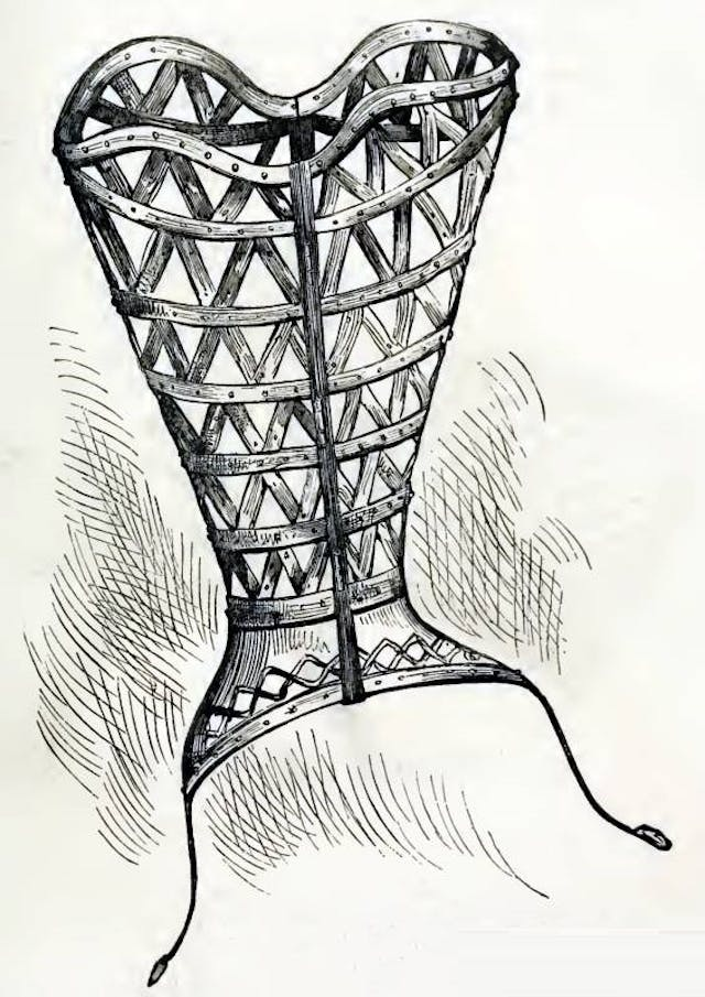 "Illustration of a ""corset-cover of steel worn in the time of Catherine de Medici"""