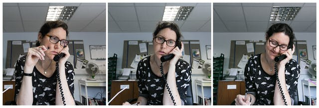 Photographic triptych showing the same woman in each image, sat in an office environment. In the left hand image the woman holds a landline telephone receiver to her left ear, her right hand is raised holding a pen against her cheek. She is looking off to camera right camera. In the middle image she holds the receiver to her left ear and she is looking straight towards the camera. In the right hand image she holds the receiver to her left ear with her right hand and she is looking down to the desk smiling.