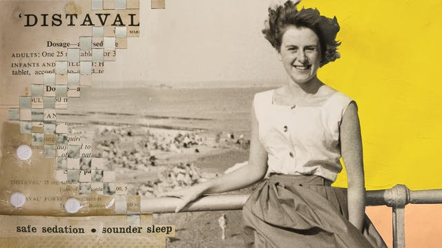 Mix media artwork made up of archive photographs and painted elements. The image shows a sepia toned photograph of a woman from the waist up standing with one arm resting on the handrail of a seaside walkway. In the distance is the horizon line of the sea meeting the sky and small distant figures on the sunlit sandy beach. The woman is smiling to the camera in a relaxed manner, her hair and skirt being blown by the wind. She is wearing a white sleeveless blouse. Behind her to the right the background of the photograph has been painted over with bright yellow textured paint above the handrail and light orange below. To the left of the image the beach scene is cut into strips and physically latticed into another archive photograph of an advert for a drug. The words