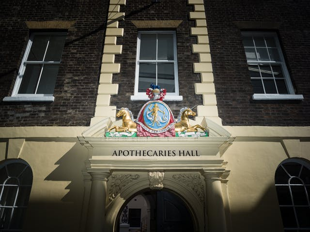 Coat of arms about Apothecaries Hall in London, featuring two unicorns.