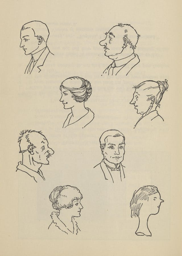 Black and white line drawing showing several people's faces in profile.