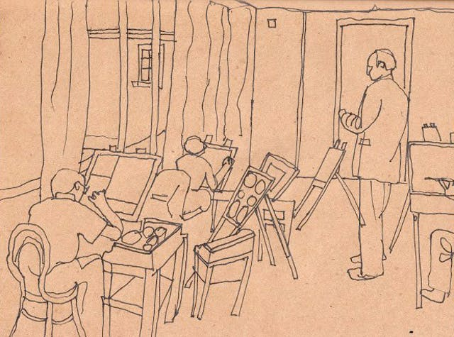 A sketch by Beth Hopkins of seated artists in an art studio and a teacher standing in the centre.