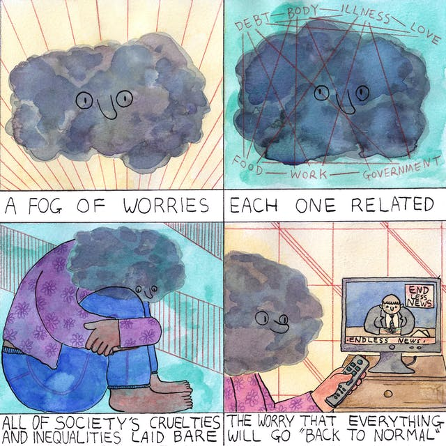 Worries comic by Rob Bidder in four frames
