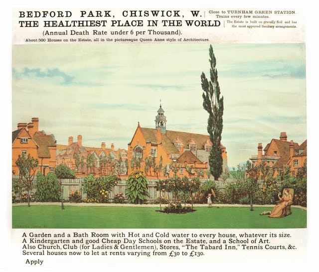 An advertisement for Bedford Park, in Chiswick, west London. The copy reads: