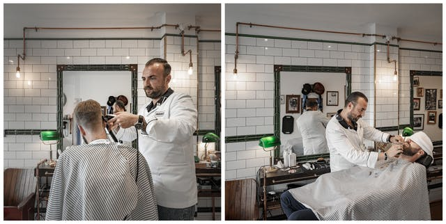 Photographic diptych. The photograph on the left shows a man from behind sitting in a barber
