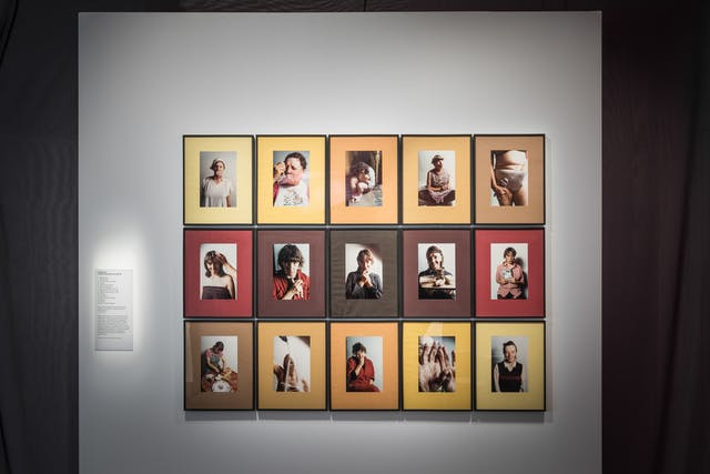 Photograph of a grid of framed photographs. The images show a woman in various self portrait scenarios. The photographs are framed in mounts in the hues of yellows, oranges and browns.