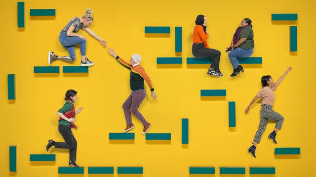 A group of people in various poses on a yellow background. They are sitting, standing, running and interacting with each other on blue blocks suspended in the air.